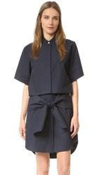 Derek Lam Button Down Tie Shirtdress Midnight