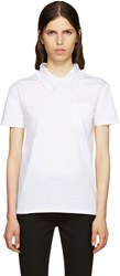 Miu Miu White Lace Collar T Shirt