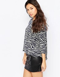 Madam Rage Jumper In Zebra Print Grey Navy