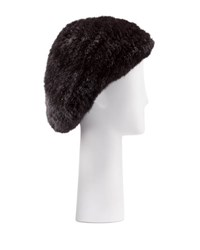 Belle Fare Structured Mink Fur Beret Hat Brown Black