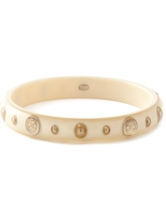 Chanel Vintage Logo Coin Applique Bangle Nude And Neutrals