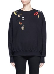 Alexander Mcqueen Obsession Charm Embellished Fleece Sweatshirt Black