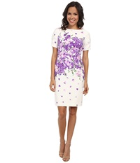 Adrianna Papell Garden Party Placed Floral Print Dress White Multi Women's Dress