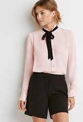 Forever 21 Tied Bow Blouse Pink Black