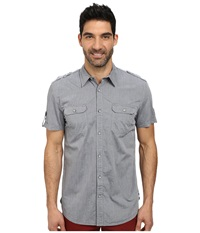 Dkny Short Sleeve Two Pocket Military Chambray Shirt Blue Men's Clothing