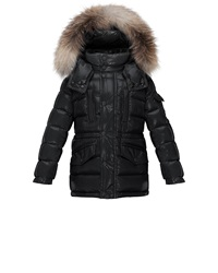 Moncler Hooded Fur Trim Button Front Puffer Coat Black Size 8 14