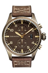 Szanto Leather Strap Watch 44Mm Brown Brown