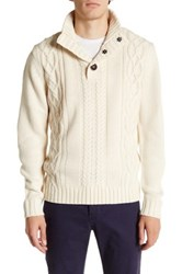 Weatherproof Cable Knit Mock Neck Sweater Beige