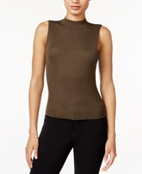 Bar Iii Sleeveless Mock Turtleneck Sweater Only At Macy's True Olive