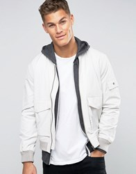 New Look Cotton Bomber Jacket In Stone With Double Pocket Detail Stone