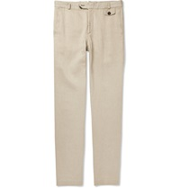 Oliver Spencer Fishtail Slim Fit Linen And Cotton Blend Trousers White