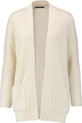 Theory Marianela Ribbed Knit Wool And Cashmere Blend Cardigan Ivory