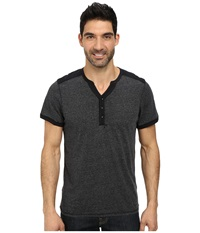 Dkny Short Sleeve Overdyed Grindle Solid Jersey Mix V Henley Black Men's Short Sleeve Pullover