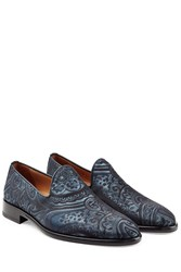 Etro Woven Silk Loafers Blue