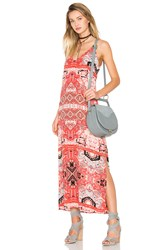 Eight Sixty Moroccan V Neck Maxi Dress Red
