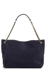 Tory Burch 'Marion' Suede Tote Blue True Navy