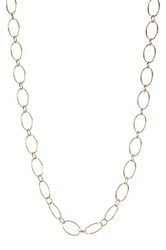 Argentovivo 18K Yellow Gold Plated Sterling Silver 36' Oval Link Chain Necklace Metallic
