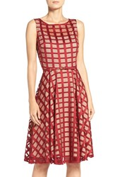 Gabby Skye Women's Grid Lace Midi Dress
