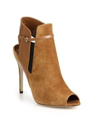 Sergio Rossi Suede And Leather Sandal Booties Beige