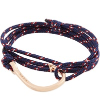 Miansai Rose Gold Rope Hook Bracelet Navy