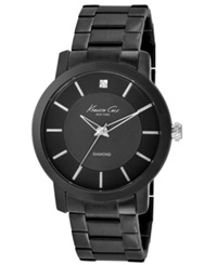 Kenneth Cole New York Watch Men's Diamond Accent Black Ion Plated Stainless Steel Bracelet 44Mm Kc9286