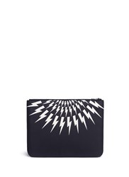 Neil Barrett Thunderbolt Print Zip Document Case Black