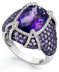 Macy's Sterling Silver Amethyst 9 Ct. T.W. And White Topaz 1 2 Ct. T.W. Ring