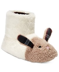 Kensie Women's Critter Bunny Boot Slippers Ivory