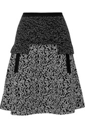 Oscar De La Renta Wool Blend Jacquard Knit Mini Skirt Black