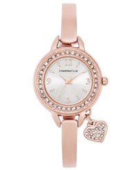 Charter Club Women's Rose Gold Tone Bangle Bracelet Watch With Heart Charm 26Mm Only At Macy's