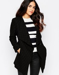 Rare Textured Wrap Front Jacket Black