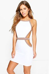 Boohoo Robyn Strap Cut Out Detail Bodycon Dress White