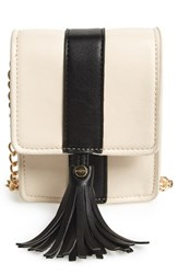 Big Buddha 'Valery' Faux Leather Crossbody White Bone Black
