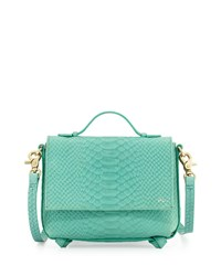 Foley Corinna Gigi Snake Embossed Leather Flap Crossbody Bag Jade