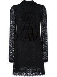 Giamba Lace Overlay Dress Black