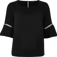 River Island Womens Black Bell Sleeve Top