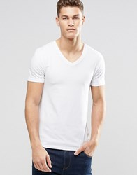Asos Muscle Fit T Shirt With V Neck And Stretch White