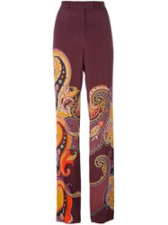 Etro Paisley Print Straight Trousers Pink And Purple