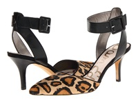 Sam Edelman Okala Black New Nude Dress Calf Leather Leopard Brahma Hair High Heels Animal Print