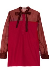 Valentino Silk Organza Paneled Cotton Poplin Blouse Burgundy