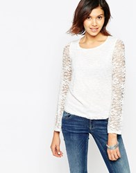 Only Long Sleeve Lace Top White