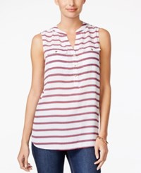 Charter Club Striped Sleeveless Top Only At Macy's Bright White