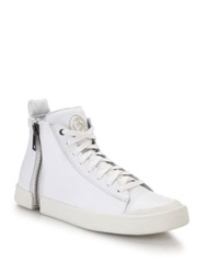 Diesel Nentish Zipper Spliced Leather High Top Sneakers White Black