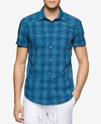 Calvin Klein Jeans Men's Rolling Plaid Short Sleeve Shirt Ultramarine
