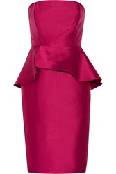 Badgley Mischka Ruffled Mikado Peplum Dress Purple
