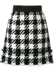 Dolce And Gabbana Houndstooth Skirt Black