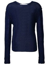 Isabel Benenato Dropped Shoulder Knit Jumper Blue