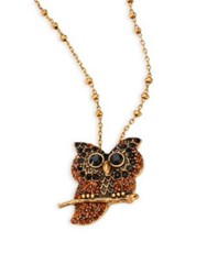 Marc Jacobs Owl Crystal Pendant Necklace Antique Gold