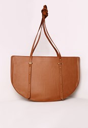 Missguided Oversized Half Moon Tote Bag Tan Brown