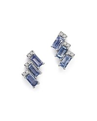 Dana Rebecca Designs 14K White Gold Kristen Kylie Stud Earrings With Light Blue Sapphires And Diamonds Blue White